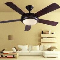 Винтаж просто немой дерева лист LED Fan потолочный светильник с Дистанционное управление для Гостиная Обеденная Спальня 52 дюйм(ов) 2088