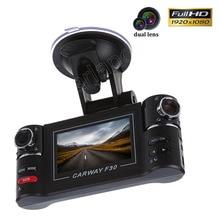 """Full HD 1080 P Carway F30 Видеорегистраторы для автомобилей 2.7 """"TFT ЖК-дисплей тире Камера 180 градусов поворачивается объектив Ночное видение два объектива видеомагнитофон"""