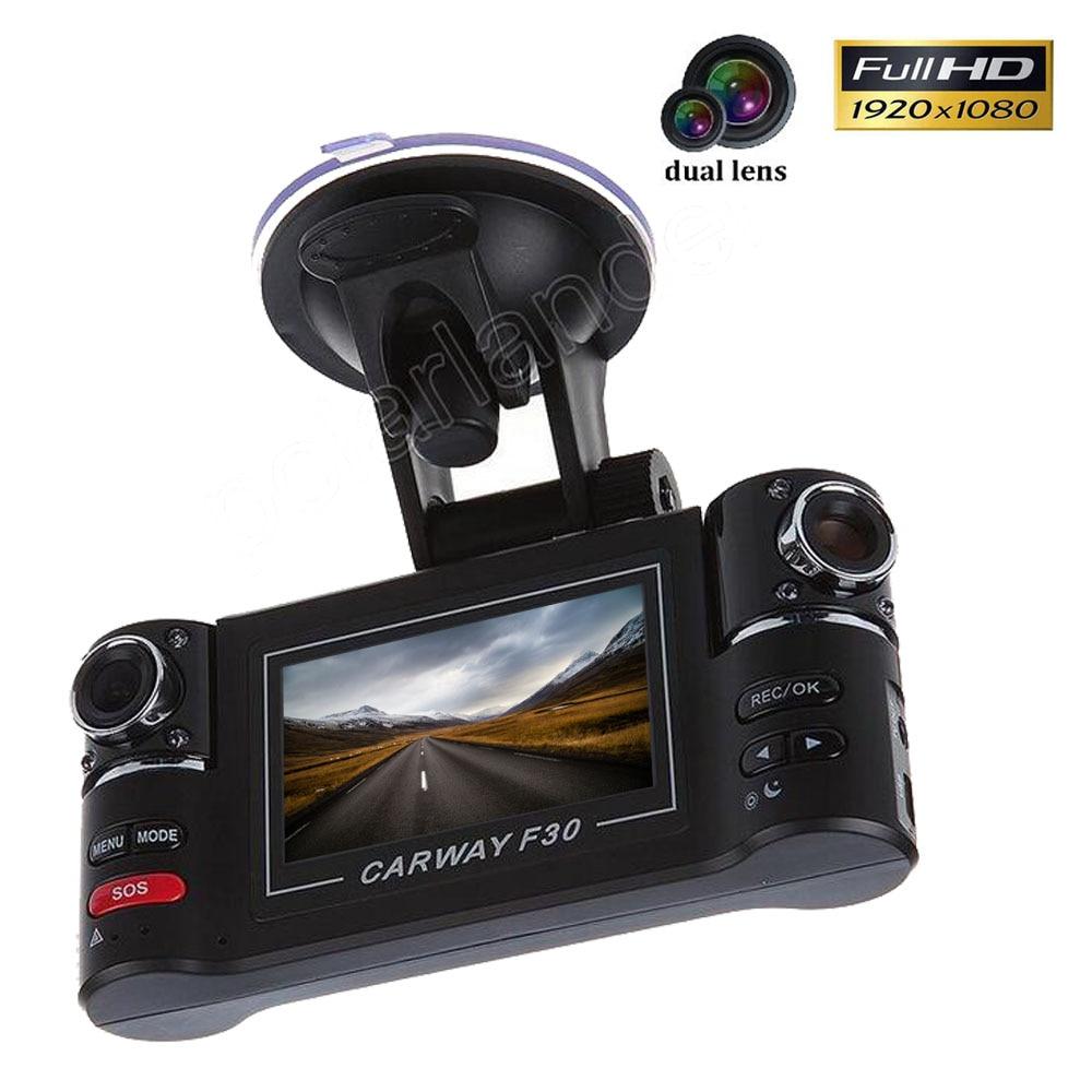 """imágenes para Full HD 1080 P Carway F30 Del Coche DVR 2.7 """"TFT LCD Cámara tablero de Visión Nocturna Dual de la lente de 180 grados Giró la lente grabador de vídeo"""