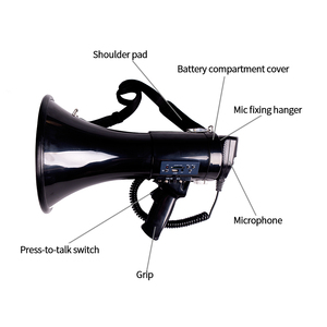 Image 2 - Portable Megaphone 50 Watt Power Megaphone Speaker Bullhorn Voice And Siren/Alarm Modes With Volume Control And Strap