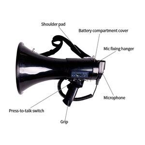 Image 2 - Przenośny megafon 50 Watt Power megafon głośnik Bullhorn głos i syreny/tryby alarmowe z regulacją głośności i paskiem