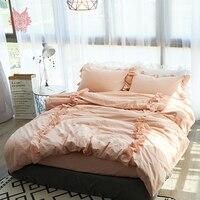 Princess white pink 3D laciness bedding sets 100% cotton duvet cover set comforter cover set fitted type jogo de cama SP4082