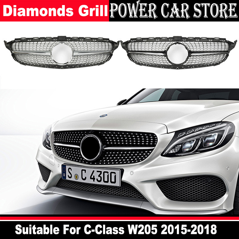 With Centre Logo Diamond Grille Suitable For C Class W205 C63 Radiator Grille 2019+ Sports Edition C450 250 180 C200 C220 C63