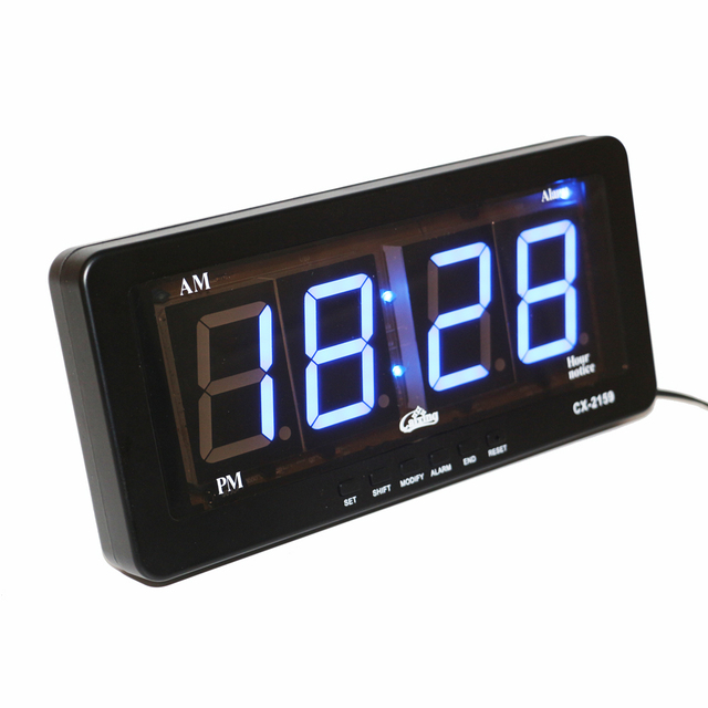 Blue LED Display Digital LED Alarm Clock Wall Clock Large Numbers Easy to Read Modern Silent Electronic Alarm Clocks AC powered