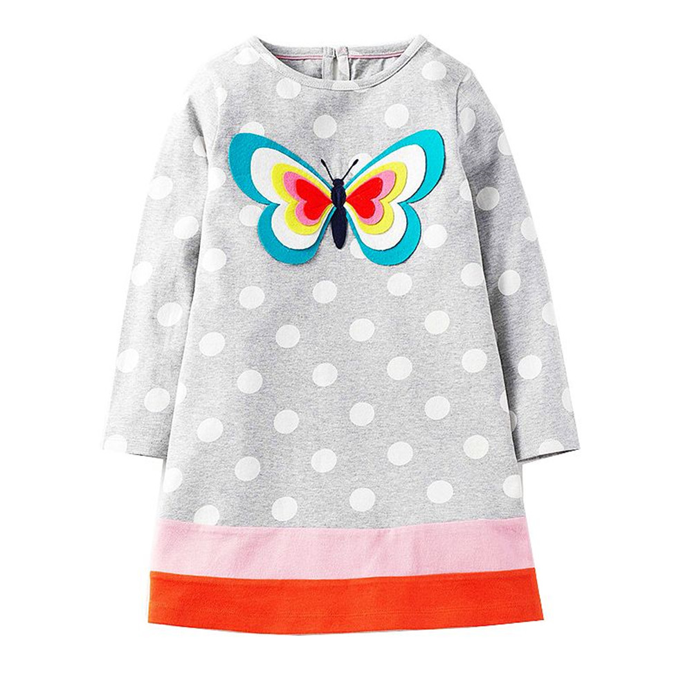 Robe Fille Enfant Kids Dresses for Girls Clothes Long Sleeve 100% Cotton Tunic Dress 2017Autumn Casual Princess Birthday Costume футболка для мальчиков children boy clothes camisa 100% vetement garcon enfant girls tee shirts