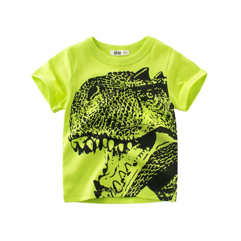 Softu Children Summer Clothing Baby Boy T Shirt Cotton Dinosaur Short Sleeve T-shirt Kid Boy Casual Sport T-shirt 2-8y Shirts