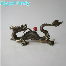 decorations for home+ Home Decoration Chinese Old Copper Carved Dragon With red Bead Statue/Chinese dragon Sculpture
