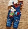 2016 nuevo bebé de la llegada pantalones vaqueros bebé de la historieta denim pant boy and girl jeans suspender diseño baloon