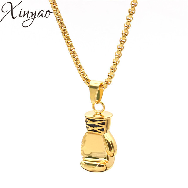 Silver Tone/Gold/Gunblack Plated 316L Stainless Steel Boxing Gloves Pendant Mens Necklace Delicate Link Chain Necklace F5265