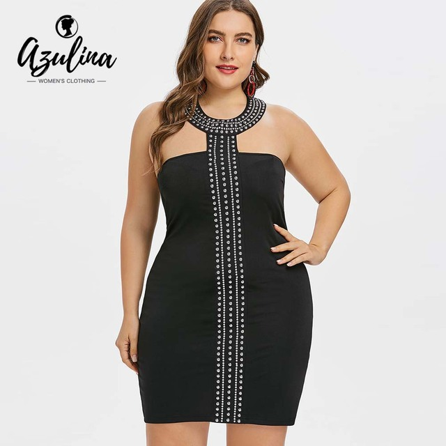 AZULINA Plus Size Choker Neck Rhinestone Insert Bodycon Dress Summer Club Party  Dress Vestidos Sexy Sleeveless 8ec01bb88b07