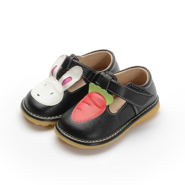 Baby Toddler Girl Cute Rabbit & Carrot Squeaky Shoes Baby Girl Leather Shoes