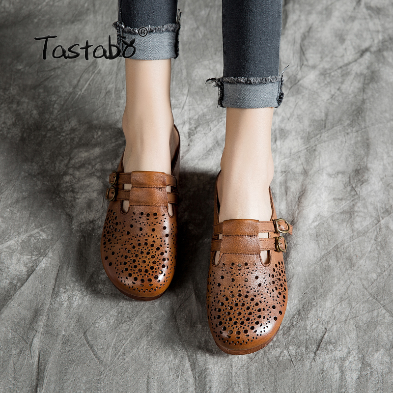 Tastabo Handmade Hollow Genuine Leather Slippers For Women Outdoor Slippers Wild women s shoes Comfortable soft