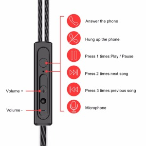 Image 3 - Silicone Dual Drive Earphone Wired Headphones Sport Earbuds Bass Stereo Earphones Headset For Xiaomi Redmi Note 8 Samsung A50 S9