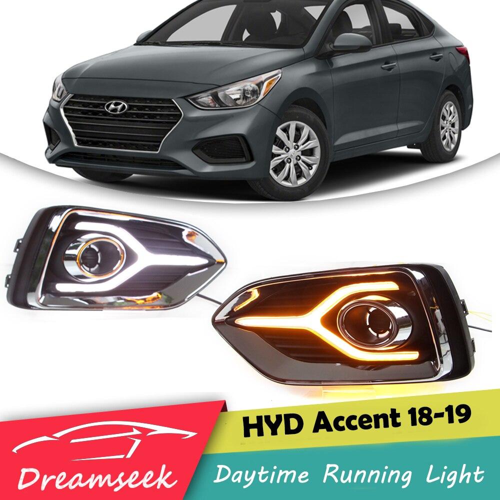 Daytime Running Light LED DRL Fog Lamp For Hyundai Accent//Verna//Solaris 2018-2019