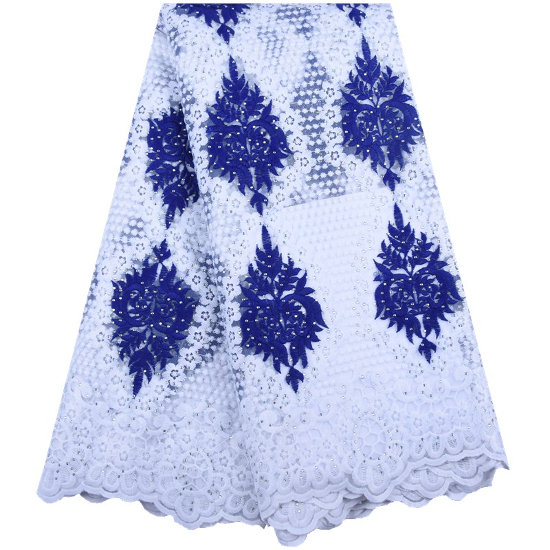 2019 High Quality African Lace Fabric Stoned French Net Embroidery Lace Nigerian Tulle Lace Fabric For