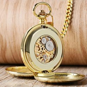 Navidad Christmas Gift Smooth Mechanical Pocket Watch Full Gold Color Men Women Stylish Retro FOB Hand Wind Double Hunter