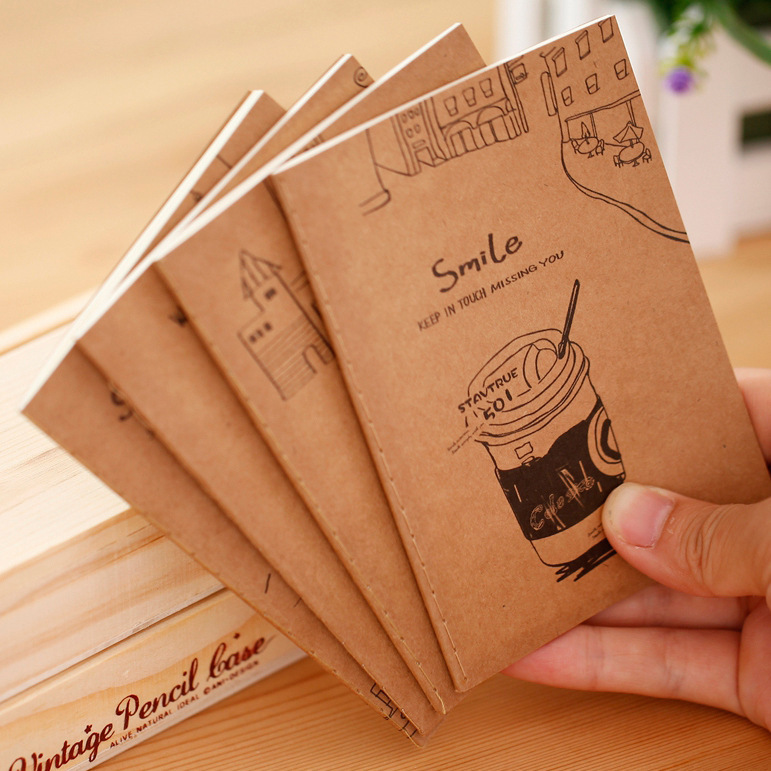1Pcs Good Times Kraft Paper Soft Cover Mini Notebook Diary Pocket Notepad Promotional Gift Stationery E0376