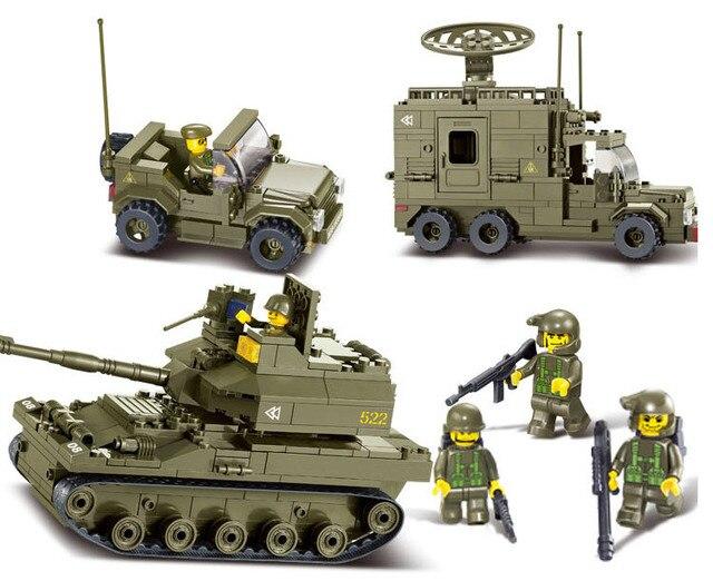 Sluban 576 шт. войска Армии Развивающие Игрушки Танк + Джип + Радар + 6 Солдат автомобиль Кирпич Строительный Блок Игрушки совместимость с legoe