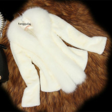 womens imitation mink fur coat short design overcoat fox collar