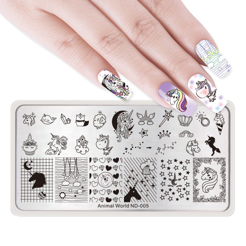 NICOLE DIARY Nail Stamping Plates Necklace Flower Animal Pattern Nail - Манікюр - фото 2