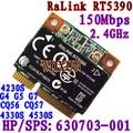 Rt5390 Media Mini Pcie Wifi 802.11bgn Tarjeta Hp436 435 431 4230 s 4330 s Sps: 630703-001 interno 150 mbps Inalámbrica Para El Ordenador Portátil