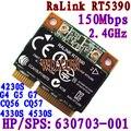 Rt5390 Metade Do Tamanho Mini Cartão Pcie Wi-fi 802.11bgn Hp436 435 431 4230 s 4330 s Sps: 630703-001 interno de 150 mbps Sem Fio Para Laptop
