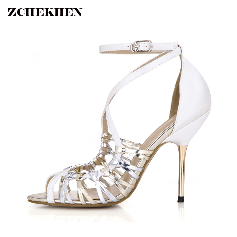 <font><b>2018</b></font> Summer <font><b>Sexy</b></font> Gladiator <font><b>Sandals</b></font> Women metal High Heels <font><b>Sandals</b></font> Party Wedding Shoes women Glitter bling hollow out <font><b>Sandals</b></font> image