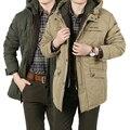 100% Original de la Marca Para Hombre de las chaquetas y Abrigos Gruesos Calientes del Algodón Hombres Chaqueta de Invierno Parka Larga Suelta más el Estilo de negocios 879
