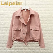 Laipelar 2018 Spring Autumn New Women Jacket Loose Pocket Casual Cropped Tops Solid Jacket Coat fashion Female Outerwear girls недорого