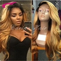Density 150% Ombre Honey Blonde Body Wave Full Lace Human Hair Wigs Malaysian Virgin Hair 1B/27# Glueless Lace Front Wigs
