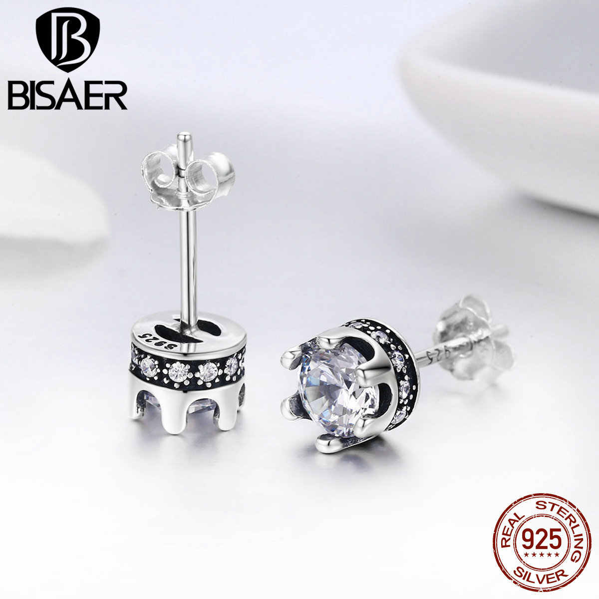 Authentic 925 Sterling Silver Dazzling CZ Princess Crown Small Stud Earrings for Women Sterling Silver Fashion Jewelry Brincos