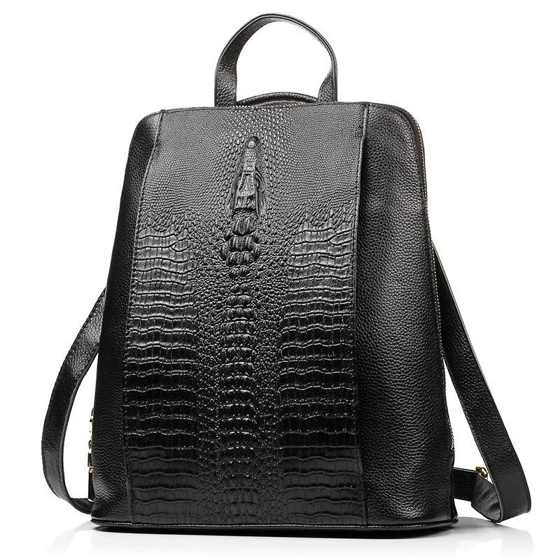 Zency หนังแท้ 100% กระเป๋าเป้สะพายหลัง Ladies รูปแบบจระเข้ผู้หญิงกระเป๋าเป้สะพายหลังโน้ตบุ๊ค Schoolbags กระเป๋าเดินทางคุณภาพสูง-ใน กระเป๋าเป้ จาก สัมภาระและกระเป๋า บน   2