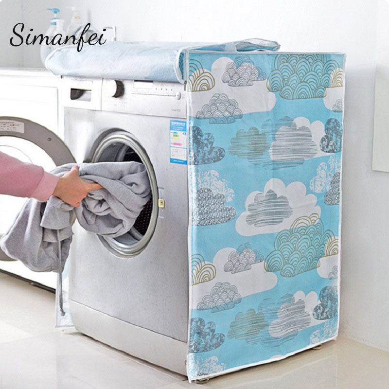 Simanfei Roller Washing Machine Cover 2018 New Transparent Pattern Printing Dust proof Waterproof Covers Housse lave linge Home