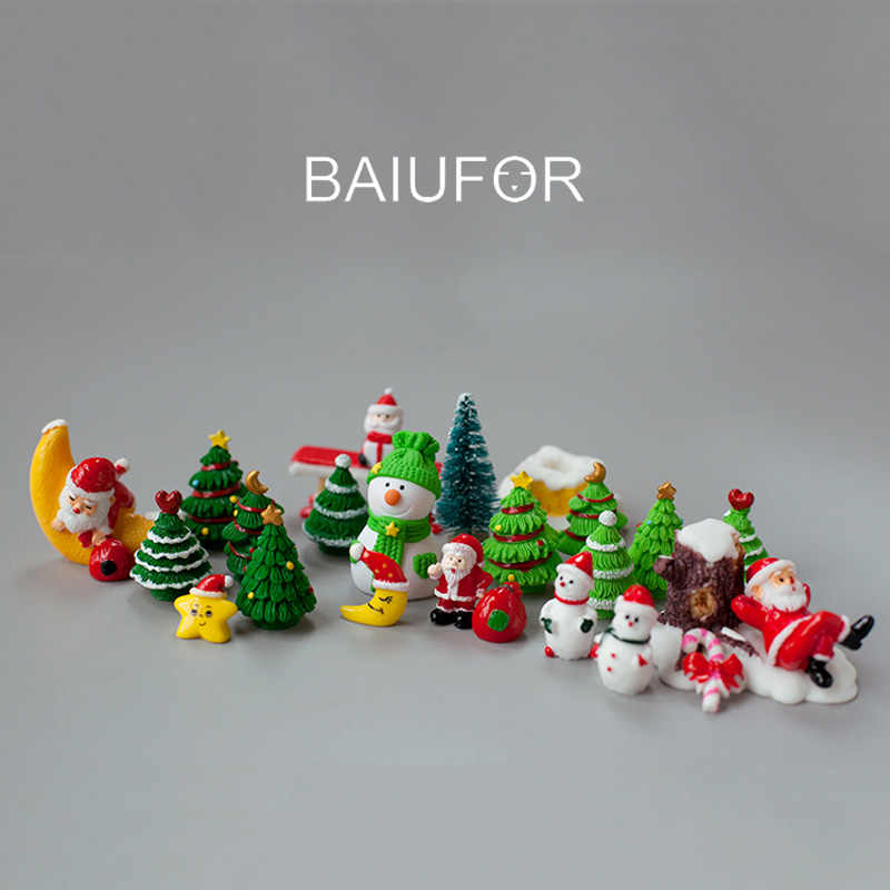 BAIUFOR Miniature Christmas Tree Santa Claus Snowmen Gift Box Terrarium Accessories Fairy Garden Figurines Doll House Decor