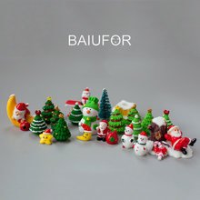 BAIUFOR Miniature Christmas Tree Santa Claus Snowmen Gift Box Terrarium Accessories Fairy Garden Figurines Doll House Decor(China)