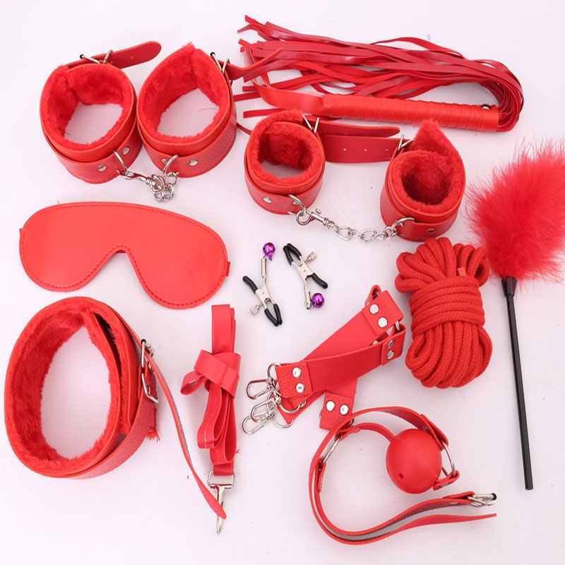 10 шт./компл., сексуальное нижнее белье, горячие наручники + манжеты на лодыжке + кнут + маска, сексуальные ограничители для связывания, эротические костюмы для взрослых, секс-игрушка