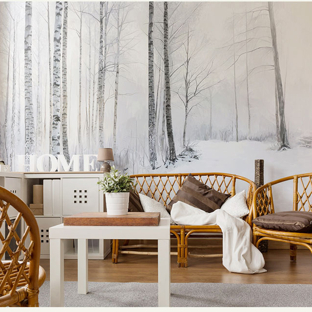 Bacaz Painted Snow Forest Nature 3d Cartoon 3d Wall Photo Murals Wallpaper for Living Room Large Papel Mural 3d Wall Mural