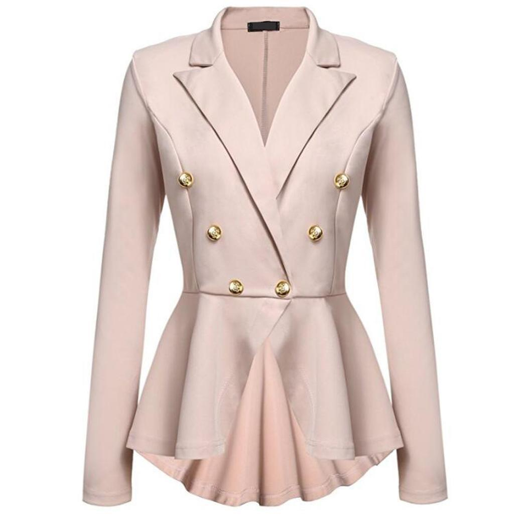 Women Fashion Long Sleeve Solid Button Casual, Office, etc Buttons Autumn, Spring Casual Slim Jacket Blazer(China)