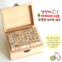 FD4243 New Korea Cat Life Handwriting Letter Rubber Stamp Wooden Box 1 Box 40PCs