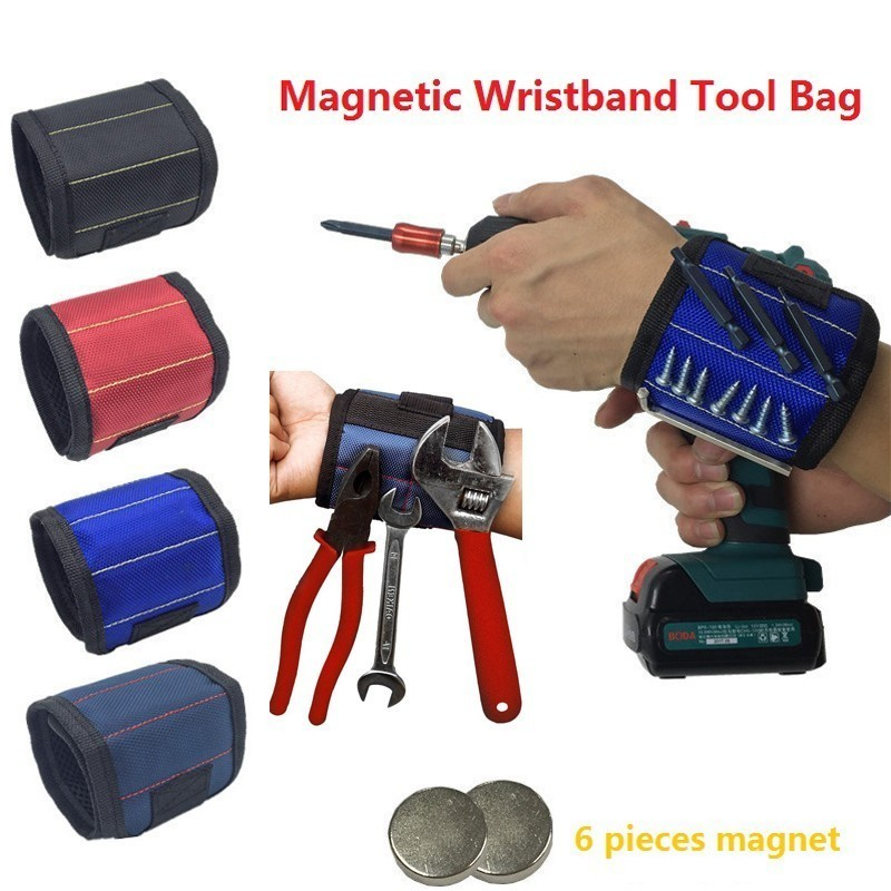 Polyester Magnetic Wristband Portable Tool Bag Velcro Electrician Wrist Tool Belt Screws Nails Drill Bits Holder Repair Tools