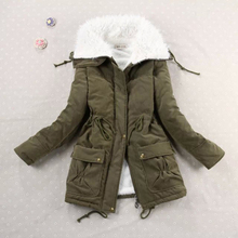 New 2017 Winter Coat Women Slim Army Green Outwear Medium-Long Wadded Jacket Thick Hooded Red Cotton Wadded Warm Autumn Parkas