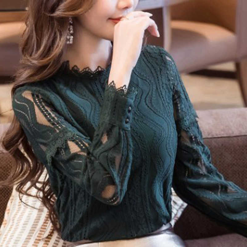 Detail Feedback Questions about 2019 New Arrival Turtleneck Women Tops  Fashion Green Lace Blouse Autumn Long Sleeve Plus Size 4XL Shirt Hollow  Blusas ... 27922f7a8368