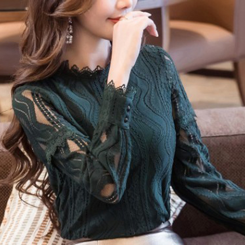 2019 New Arrival Turtleneck Women Tops Fashion Green Lace   Blouse   Autumn Long Sleeve Plus Size 4XL   Shirt   Hollow Blusas Femininas