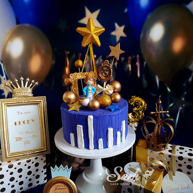 Superb Royal Crown Prince Birthday Cake Topper Gold Star Dessert Funny Birthday Cards Online Inifofree Goldxyz