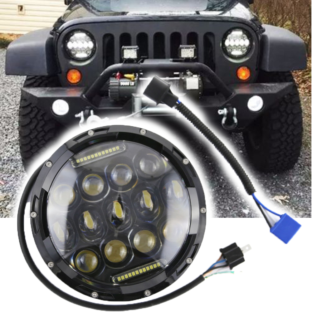 WHDZ 1pc round 7inch 75W Round LED Headlight Hi/Low Beam Head Light with Bulb DRL for jeep wrangler TJ LJ JK,CJ-7,CJ-8 Scrambler free shipping 7inch round headlight 75w h4 motorcycle round led headlamp daymaker hi low beam head light bulb drl for offroad