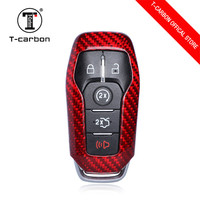 Carbon Fiber Car Key Smart Remote Key Case Cover for Ford Mustang 5 Buttons