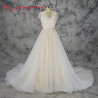 2018 new design champagne and ivory lace wedding dress custom made wedding gown factory directly wholesale price bridal dress