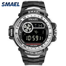 LED Digital Wristwatches Water Resistant SMAEL Men Watch Sport Military Army relogio masculino1626B Clock Men Digital Waterproof cheap 22mm 18mm Complete Calendar Shock Resistant Stop Watch LED display Back Light Chronograph Multiple Time Zone Alarm luminous