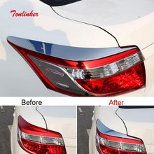 Tonlinker Exterior Car Rear Headlight Cover stickers for Toyota Vios/Yaris 2014-19 Styling 2 PCS ABS Chrome