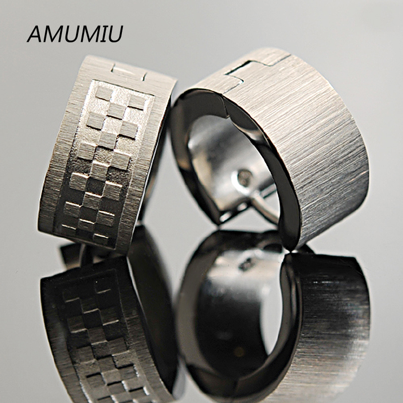 AMUMIU Stainless Steel Earrings Dull Polished Little Square Mens Wide Earring For Cow Boy, Wholesale ME003